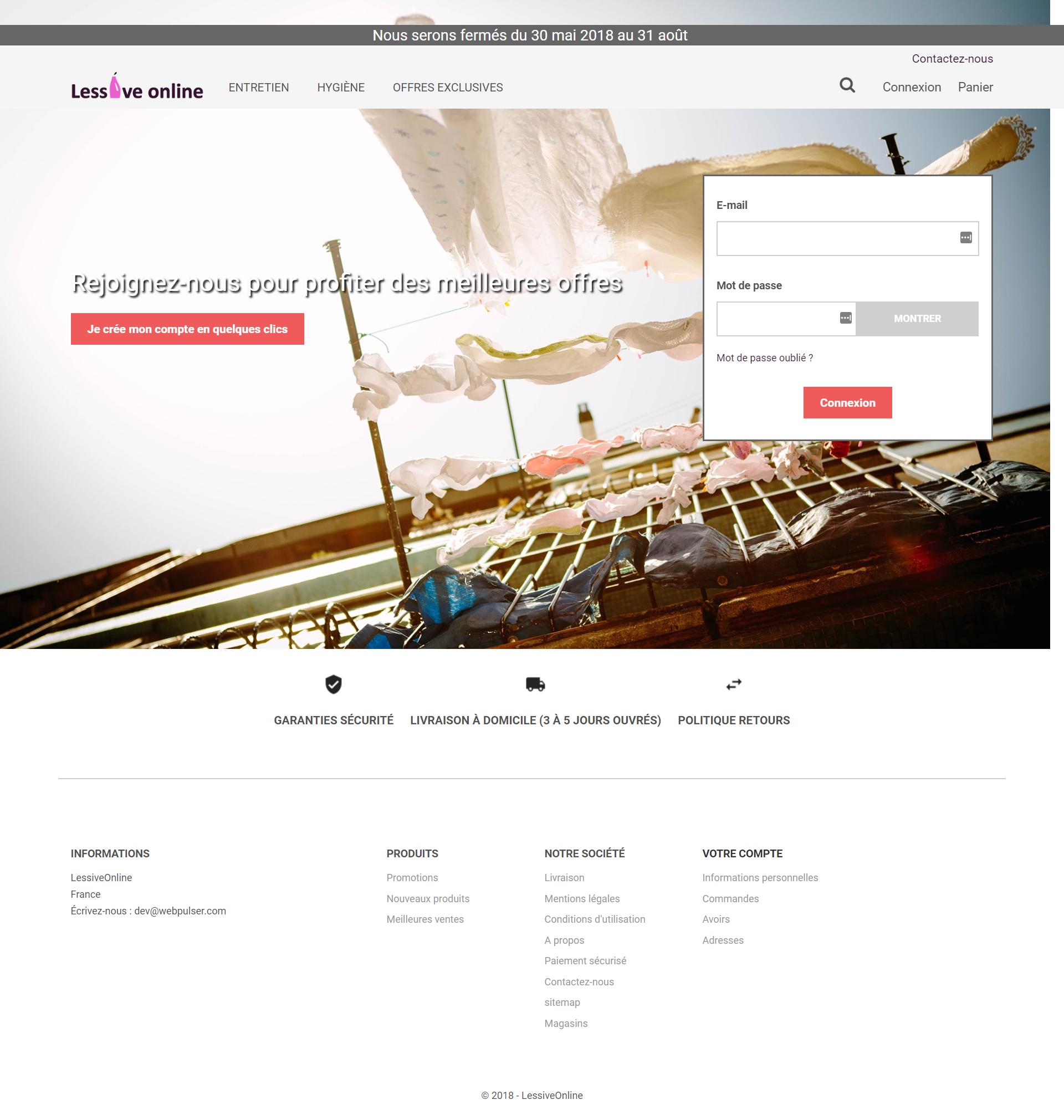 Site web Lessive online
