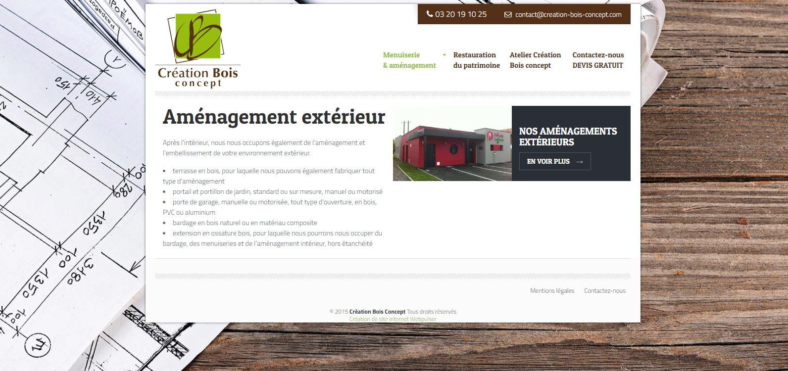 Site web Création Bois concept