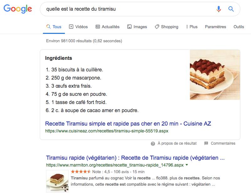 Résultat Google pour la recette du tiramisu