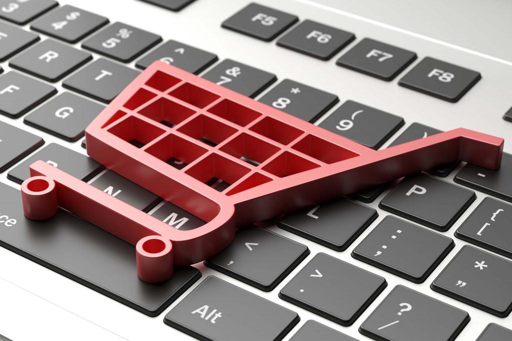 panier d'achat sur clavier d'ordinateur
